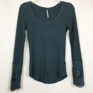 Free People teal Lovely Lady lace cuff thermal S